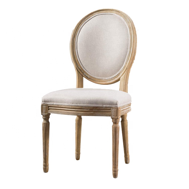 French Dining Louis Xvi Style Wood Frame Fabric Solid Antique Furniture Oval Round Back Dining Chair