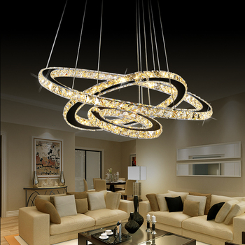 Xingjun Modern Round 3 Rings Crystal Pendant Light Contemporary Led Ceiling