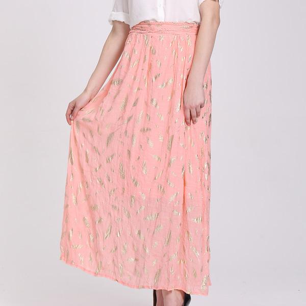 女性ピンクロング安いレディースカジュアル夏スカート