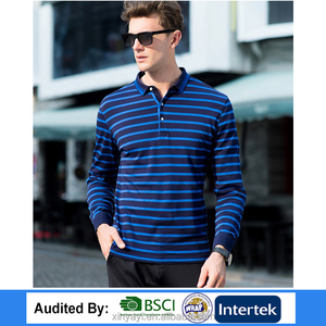 2017 Top quality OEM appreal fashion cheap price free size 180 organic cotton custom striped men's polo t-shirt