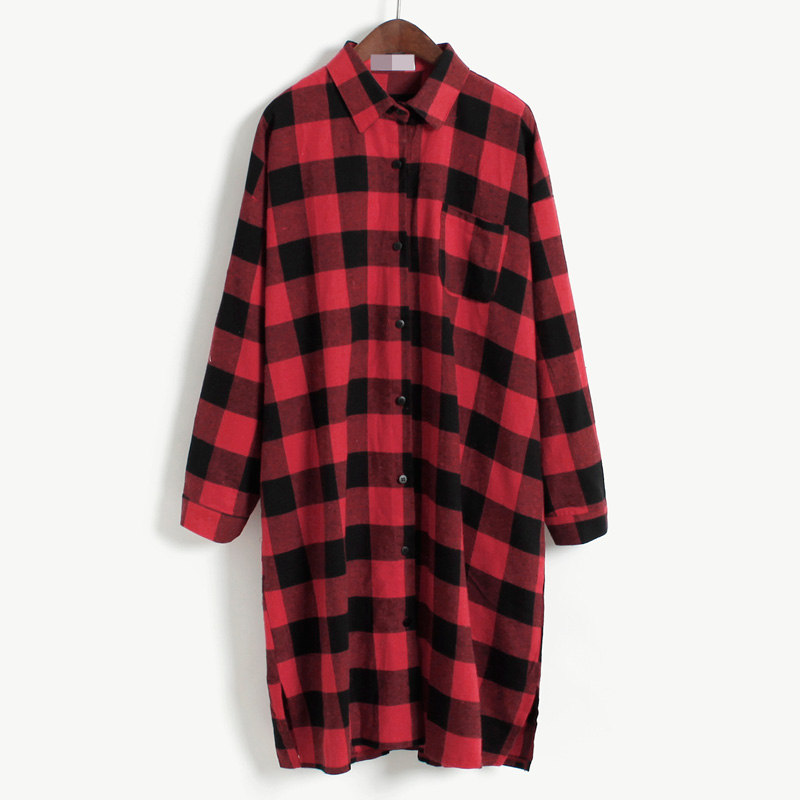 d0aceb4ec57 Get Quotations · 2015 european vintage casual long sleeve straight loose  side split british red black long plaid cotton