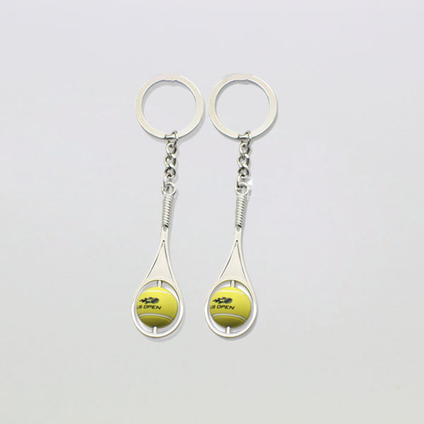 promotional tennis racket and ball keychain custom metal keyring