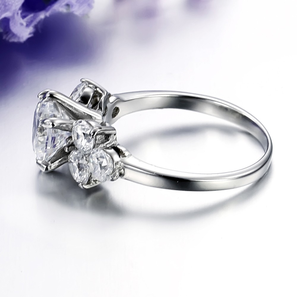 High Quality Women Cubic Zircon Silver Plated Wedding Ring Crown