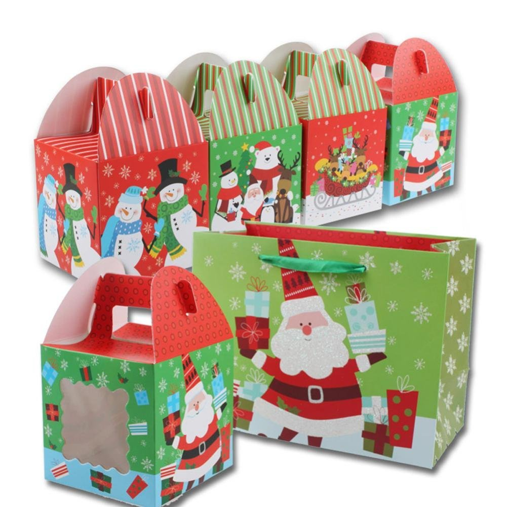 get quotations iuhan 3 pcs cube cartoon christmas santa candy box kids party paper gift boxes color - Christmas Candy Boxes