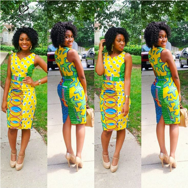 Fashion Beautiful African clothing print style dress patterns, dashiki african Sleeveless dress