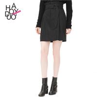 HAODUOYI Women Waist Tie Elegant Office Lady High Waist Pencil Skirts Ladies Ruffles Stripe Mini Skirt for wholesale