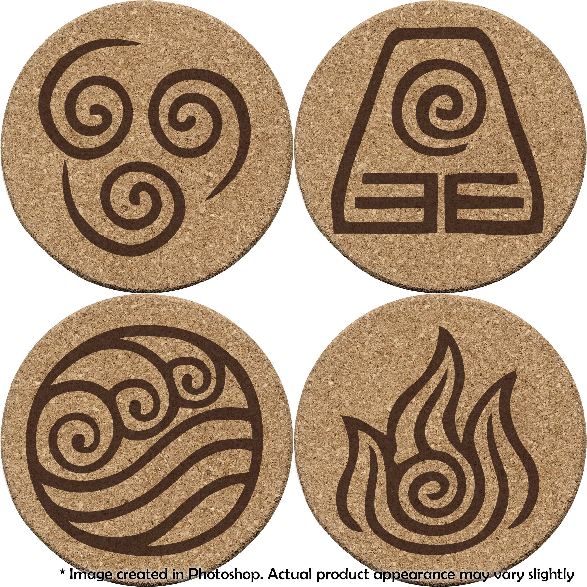 Avatar: The Last Airbender 4 Coaster Set Earth, Water, Air, Fire Elements and benders (Double Sided)
