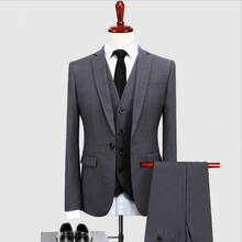 Grey <span class=keywords><strong>Jas</strong></span> <span class=keywords><strong>Broek</strong></span> Mannen Suits Slim Fit Smoking Wedding Suits Voor Grooms 3 Stuk Pak (<span class=keywords><strong>Jas</strong></span> + <span class=keywords><strong>Broek</strong></span> + vest)