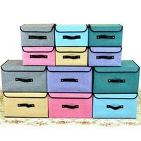 Multifunction Home Storage Fabric CD Storage Bins Foldable Non-woven Linen Storage Box with Covers