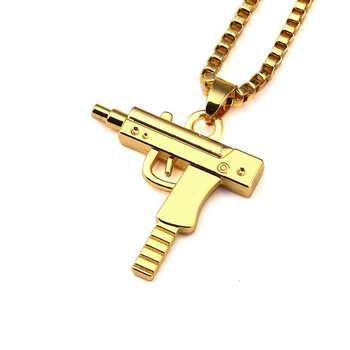 Cool design stainless steel gold covered men uzi gun pendant necklace