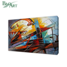 Custom acylic canvas framed musical instrument oil painting for shop decoration