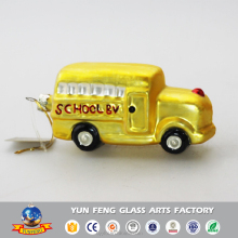 Mini fashion glass school car figurine hanging ornament