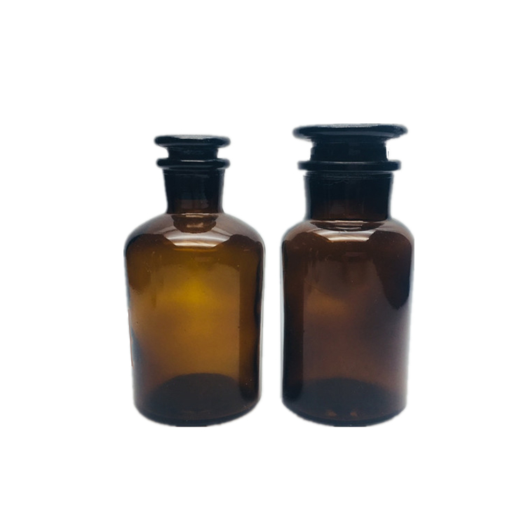 Width and small mouth glass jar with wood cork stopper reagent bottles 125ml