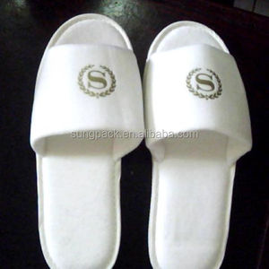 Guest Room Disposable Indoor Slippers for Restaurant Hotel Amenities Supplies Washable Terry Towel Slippers