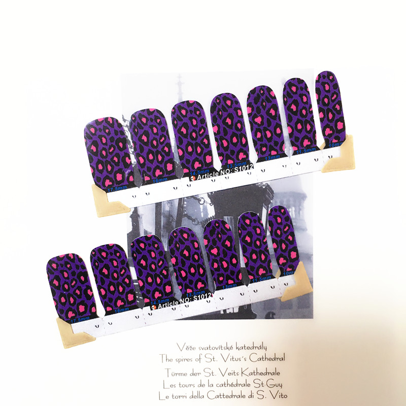 Leopard Purple Sexy Nail Arts Sticker 14 pcs set Waterproof Nail Decal Art Sticker Gel