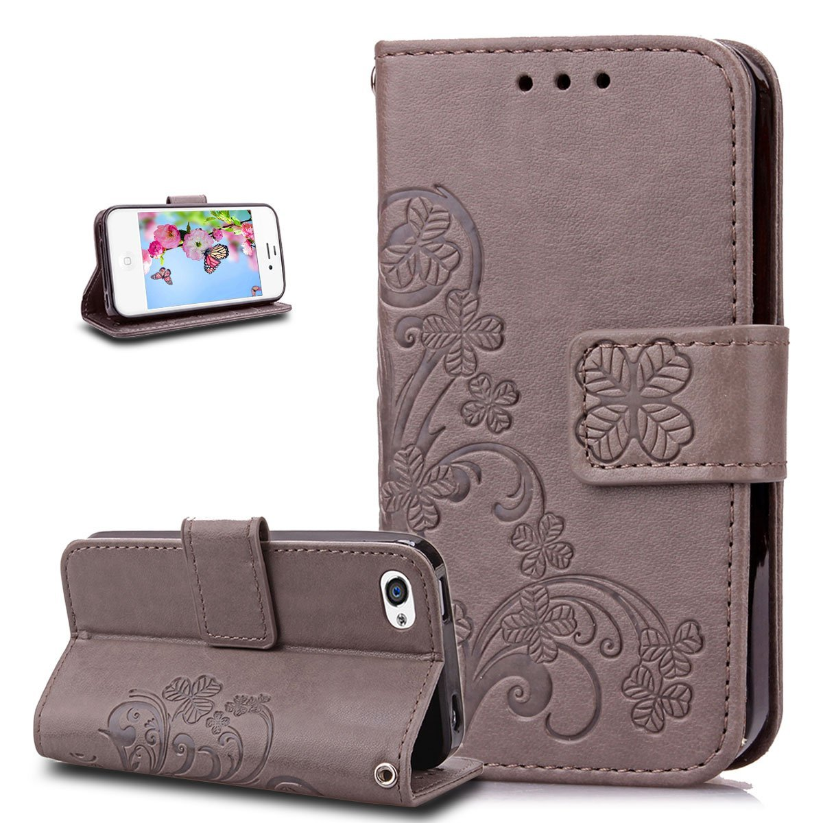 iPhone 4S Case,iPhone 4 Case,ikasus Embossing Clover Flower PU Leather Fold Wallet Pouch Case Premium Leather Wallet Flip Stand Credit Card Holders Case Cover for Apple iPhone 4S / 4,Gray