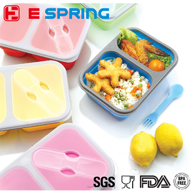 Custom 2 compartments silicone lunch box fresh food storage container with fork