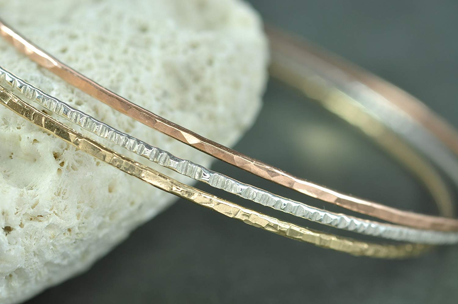 ad3640a03 Get Quotations · Mixed metal hammered skinny Stacking Bangles - set of 3 -  textured - sterling silver,