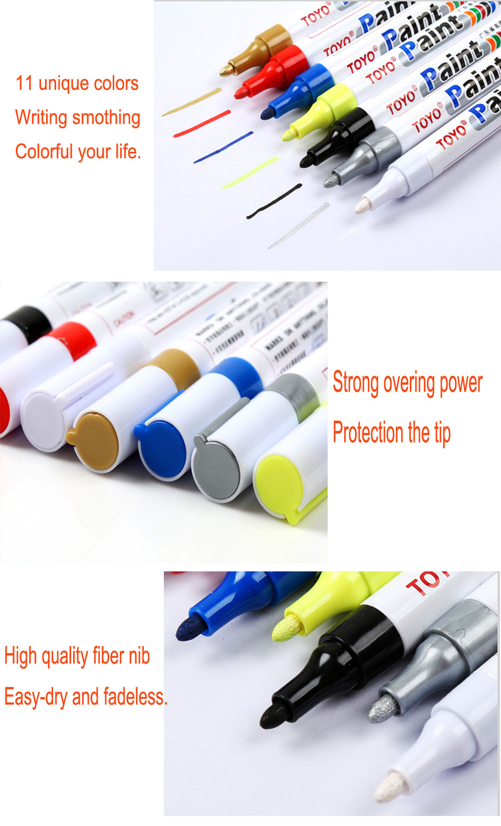 11 Color Permanent Paint Pen Marker Tire Wood Metal,Car Repair ...