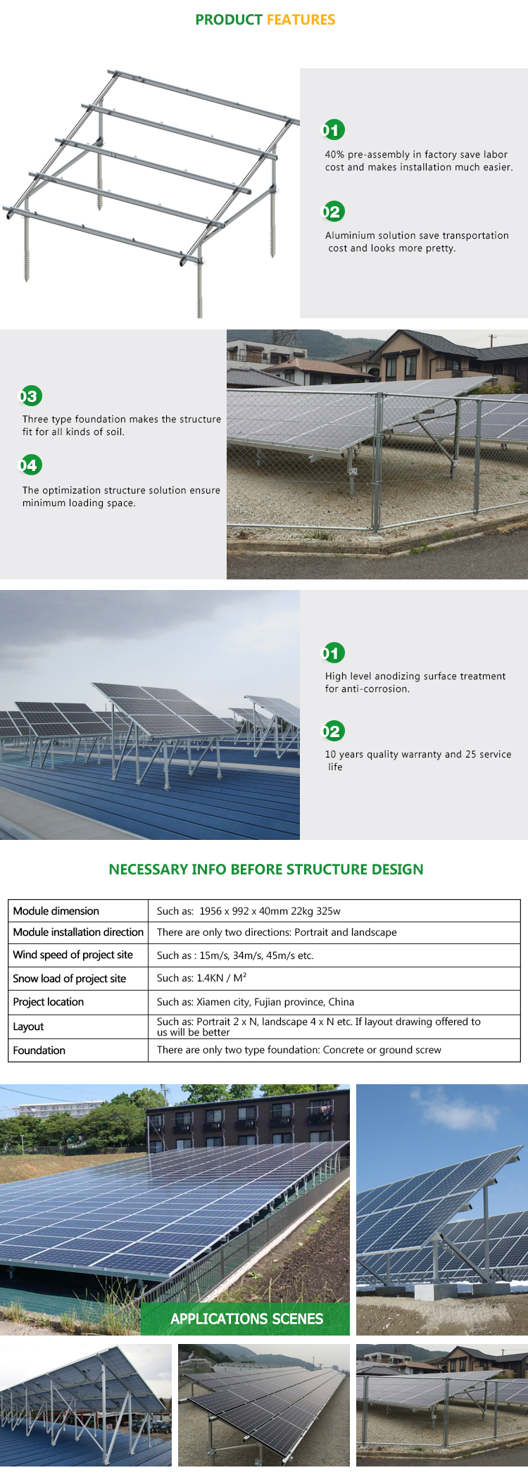 High Quality Ground Solar Mounting System with Aluminum Bracket