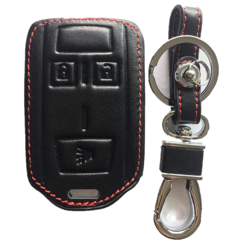 RPKEY Leather Keyless Entry Remote Control Key Fob Cover Case protector For Chevrolet Silverado 1500 Colorado Tahoe Suburban Gmc Yukon Sierra 1500 Canyon M3N-32337100 13577771 7812A 32337100