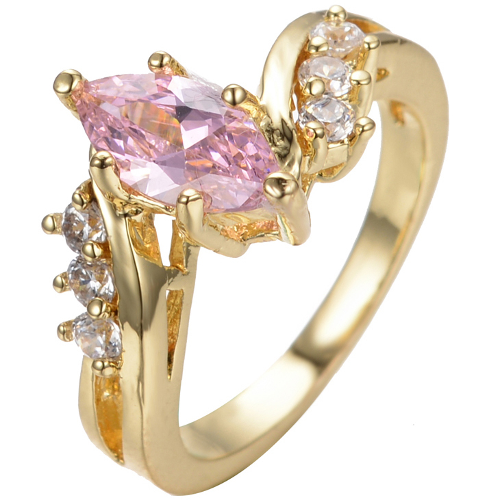 Men Women Wedding Band Rings Female Male Ring Finger Pink Shire Topaz Stones 10kt Yellow Gold Filled