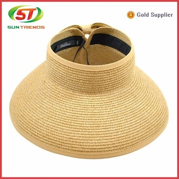 Paper straw hat wholesale sun visor hats wide brim summer straw visors f4190a27661a