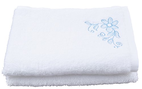 Sinland White100%Cotton Bathroom Kitchen cloth Extra Absorbent Fingertip embroidered flowers hand towel kitchen towel
