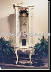 Solid Carved Wood French Provincial Half Moon Bent Glass Curio ...