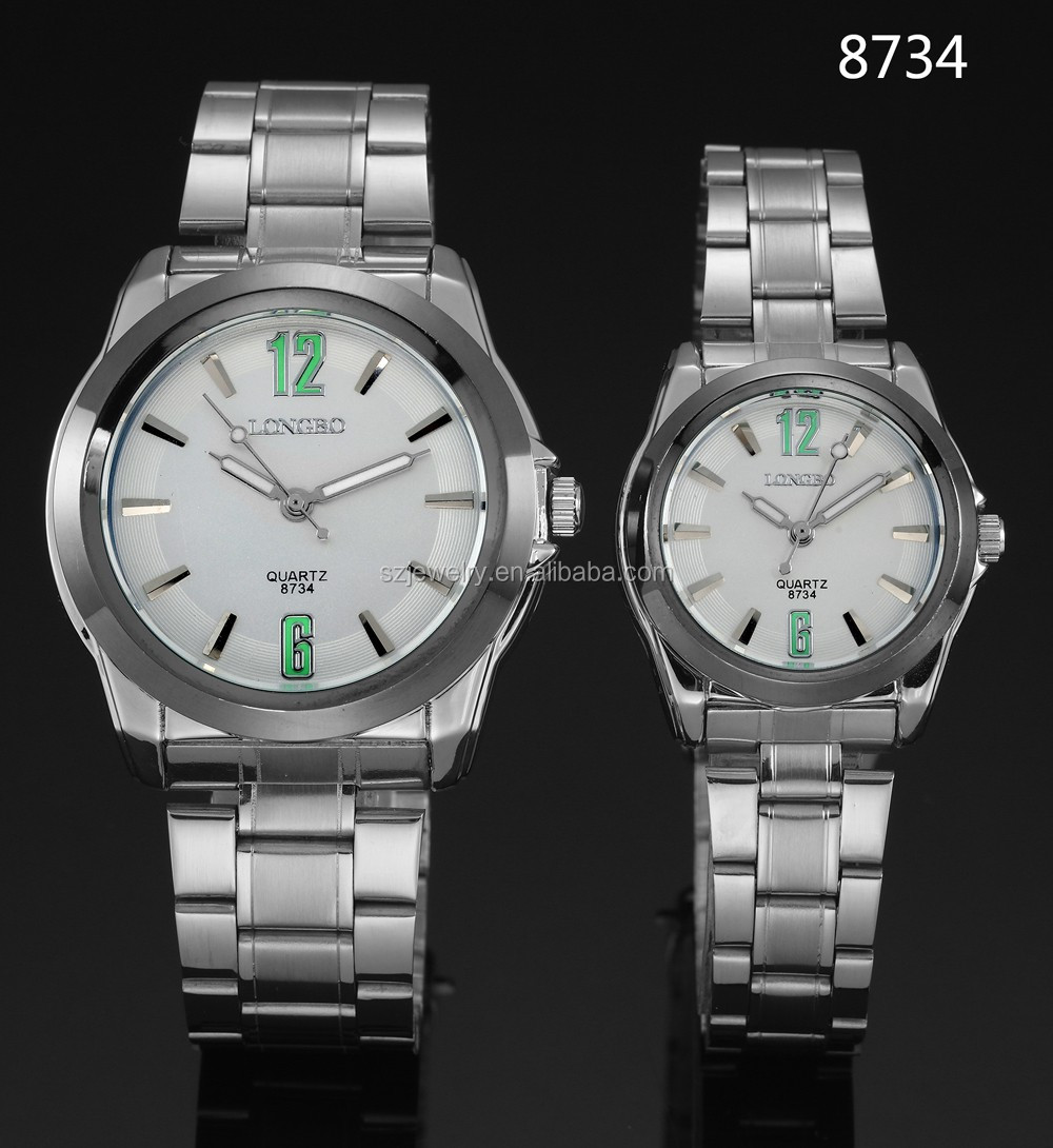 Hot Selling China Factory White Alloy Face Couply Watches,Stainless Stell Belt Motre Homme Watch Men 2016