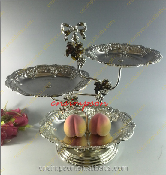 Unique design 3 tiers layer desserts/fruit with decorative pattern for wedding wholesale