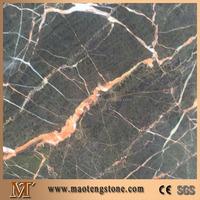 Black With Orange Pink Veins Natural Golden Flower Marble