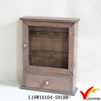 Wired Metal Door Lightweight Decorative Antique Wooden Key Box