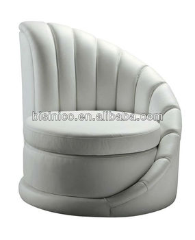Bisini Postmodern Single Round Sofa Modern Furniture Genuine Leather White Chair