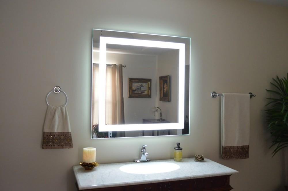 Eterna Light Up Led Clock Smart Bathroom Makeup Wall Mirror