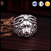 Latest Retro Ring Black Silver Color Lion Animal Shaped Ring for Men & Boys on Wedding Band RI-014