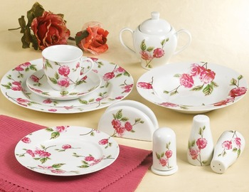 37pcs floral red rose with green leaves design porcelain round turkish dinnerware sets & 37pcs floral red rose with green leaves design porcelain round ...