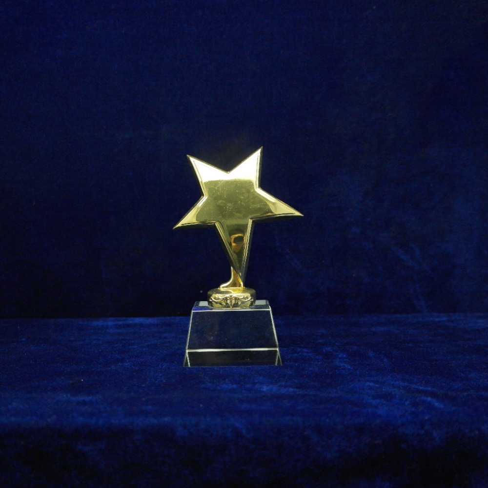 custom metal trophy metal star trophy with crystal base small souvenir for kid gift