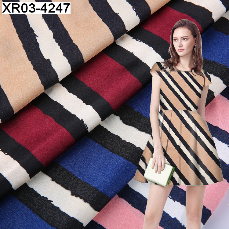 Factory direct custom stripe polyester printed technical satin fabric store online