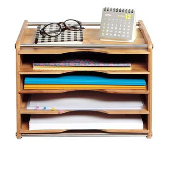 5 Tier Bamboo Office Document File Organizer Desktop Mail Letter A4 Paper  Sorter Tray Cabinet Holder Storage Box With Stainless   Buy Fun Card Files  ...