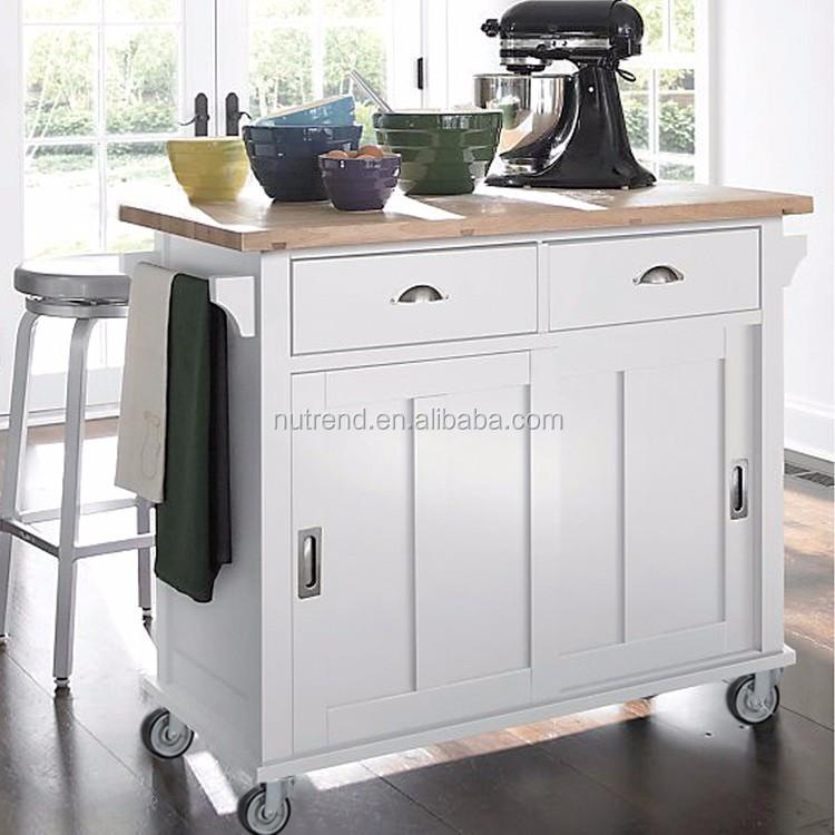 Houten keuken trolley kast met wielen 2 lade opslag buy product on - Aangepaste kast ...