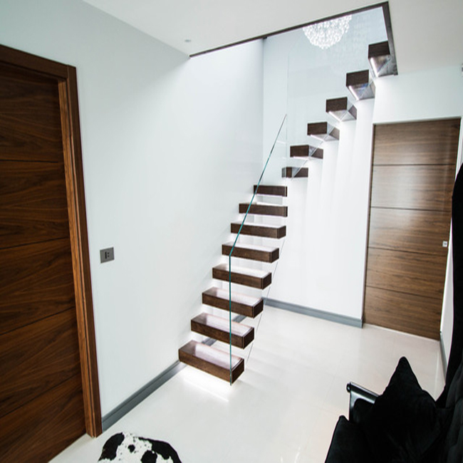 floating staircase with high quality wood tread and hiding carbon steel beam