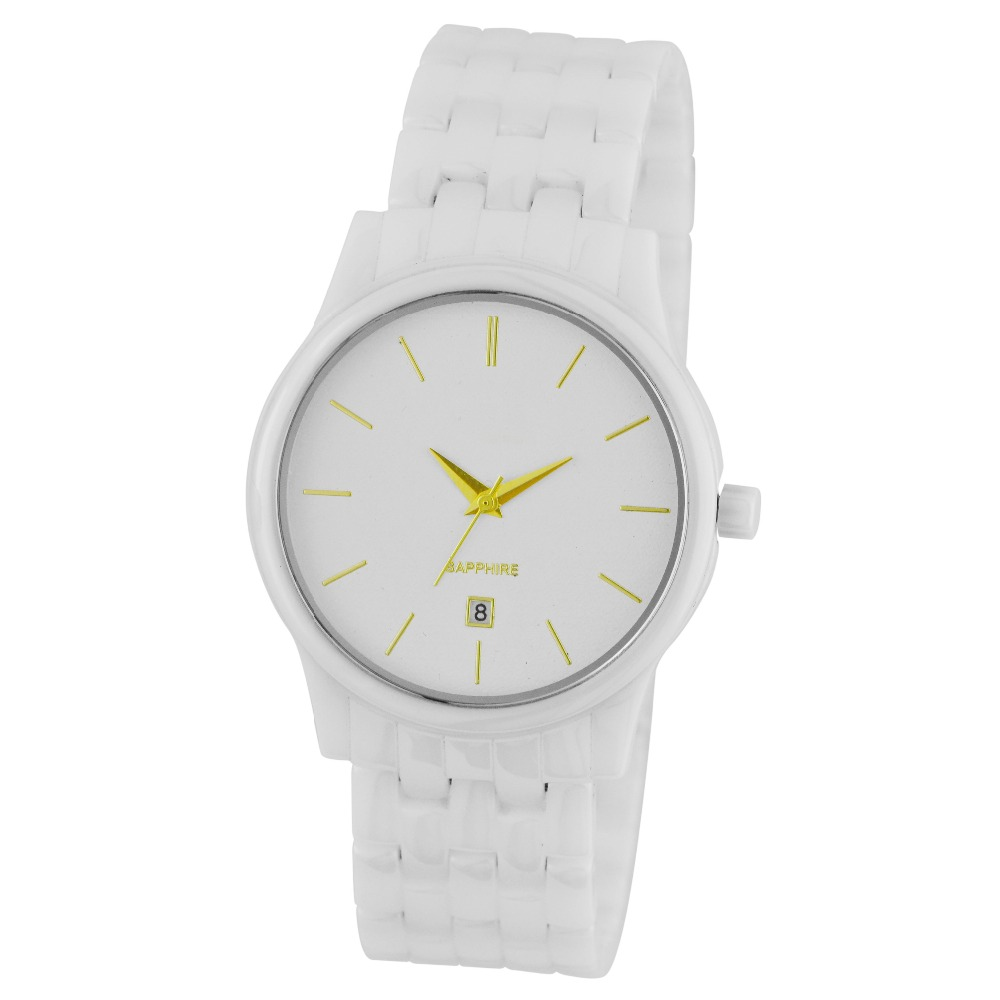 OEM white ceramic quartz wrist watches waterproof watches 3ATM