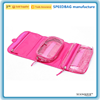 factory custom pink 600D foldable wash bag travel large hanging toiletry bag