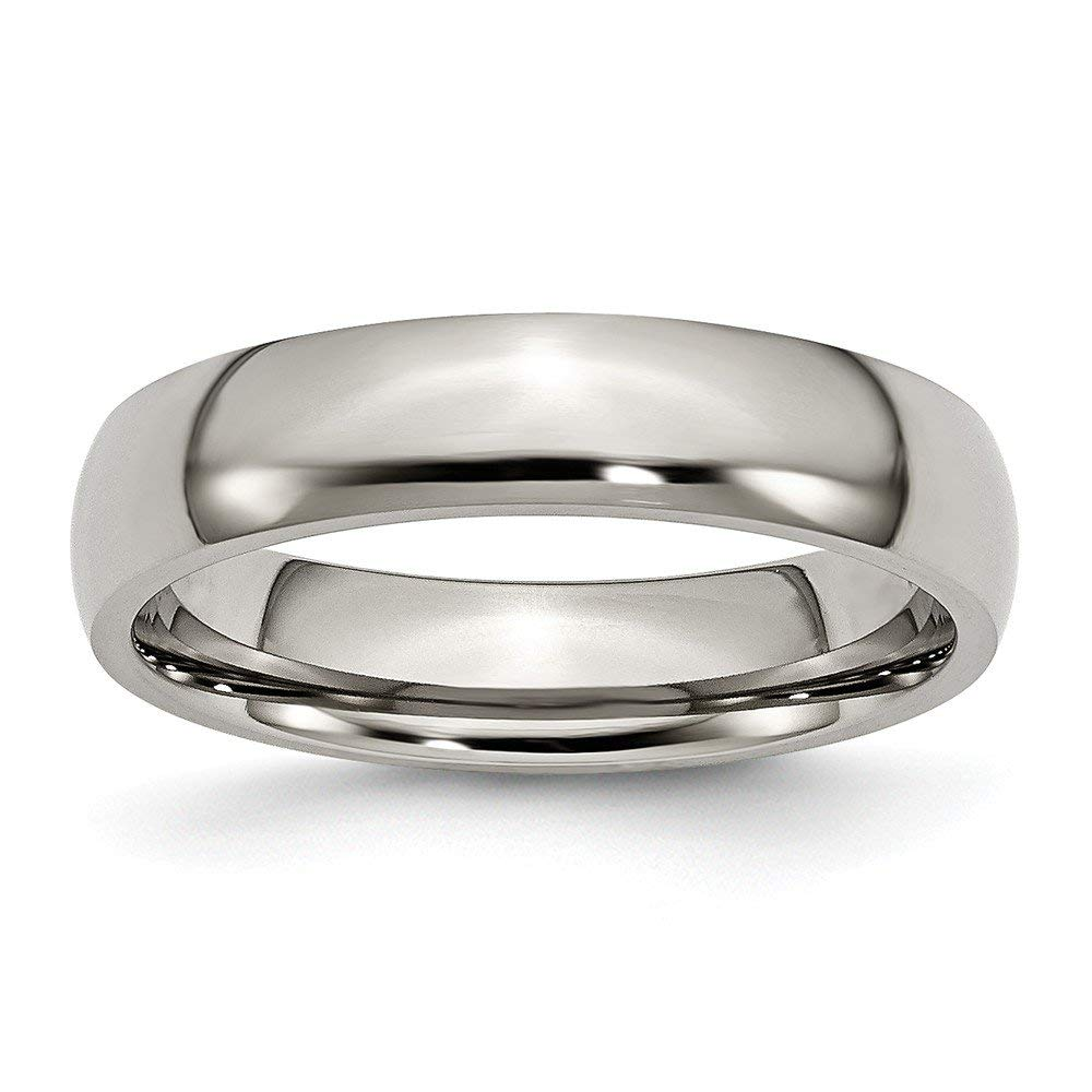 JewelryWeb Titanium Half Round Engravable 5mm Polished Band Ring - Ring Size Options: 10 10.5 11 11.5 12 12.5 13 13.5 14 14.5 15 15.5 16 5 5.5 6 6.5 7 7.5 8 8.5 9