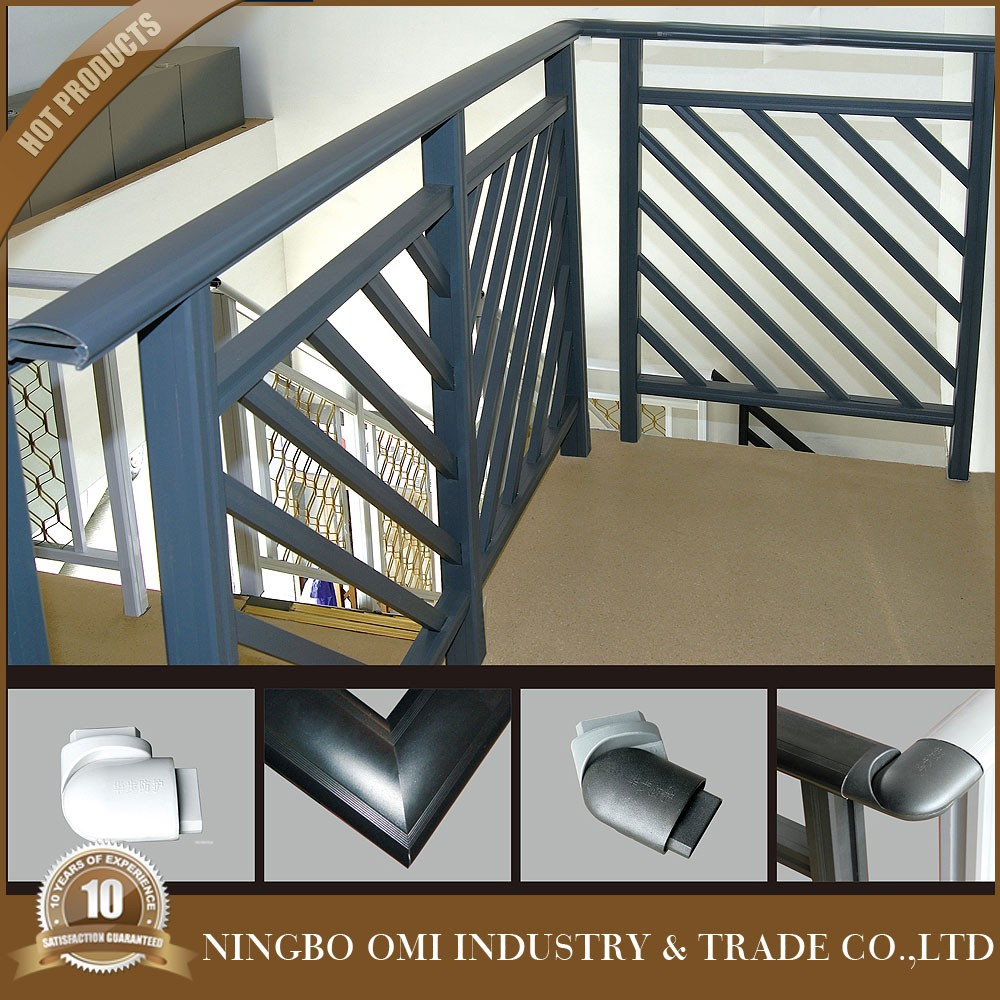 2016 Latest Cheap Price Simple Stair Railing Design / Black Color Iron Stair  Railing Designs /