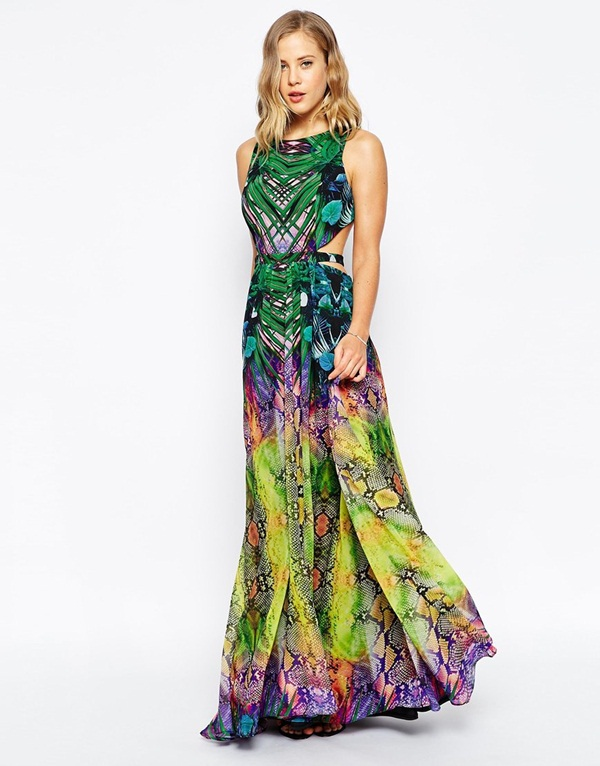 Tropical Mirror Print Maxi Dress Evening Dress With Open Back Long ...
