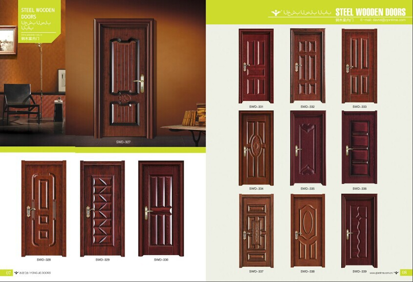 China simple design turkey armored door steel wooden door for Simple room door design