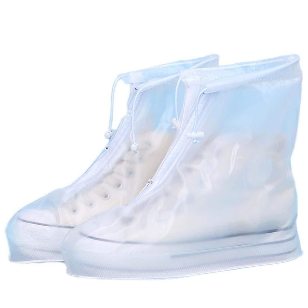 Ikevan Fashion Personality Unisex Waterproof Rain Shoes Reusable Boots Slip Resistant Suitable For Rain, 3 Colors (US:10-10.5, White)