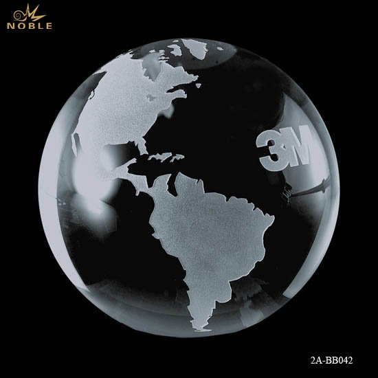 Custom Clear Glass Crystal World Earth Globe Ball For Decoration
